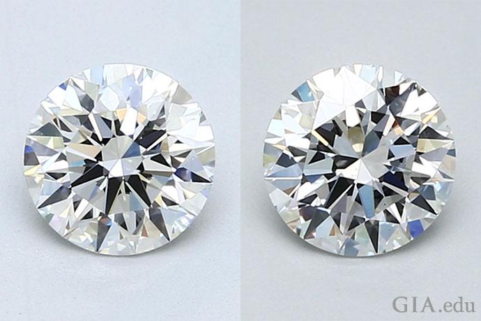 左はクラリティグレードがVVS1のダイヤモンドで、右のVS2のダイヤモンド