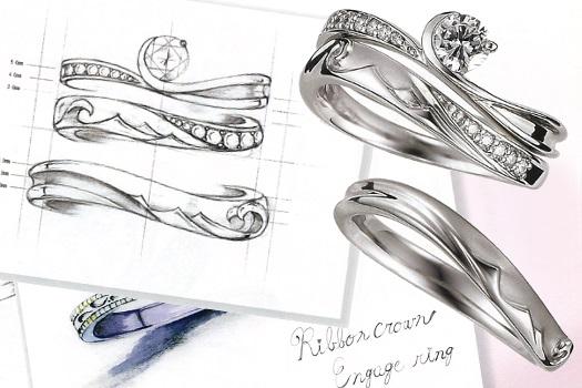 フルオーダーのデザイン画と完成品の指輪