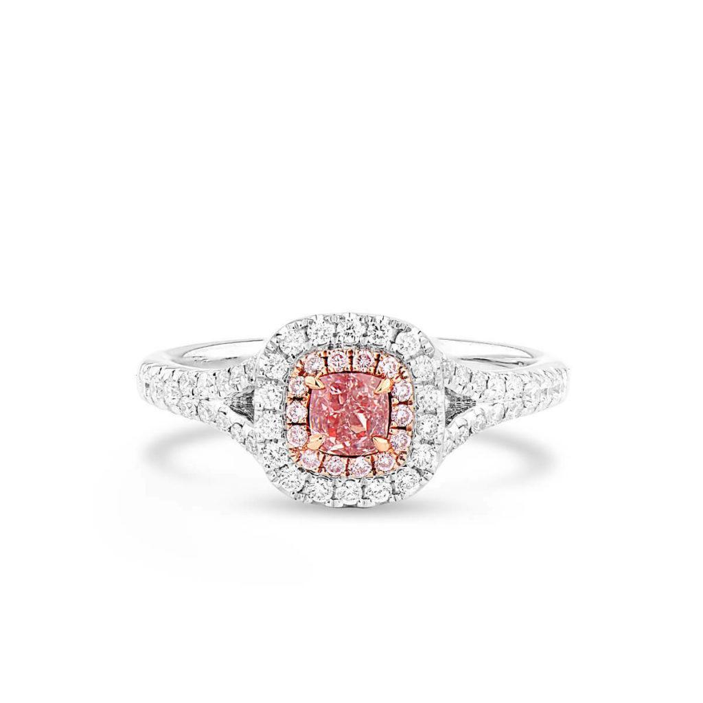ファンシーオレンジピンクダイヤモンドリング0.58 Ctクッションカットナチュラル18KホワイトゴールドGIA