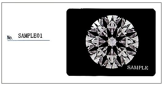 グレーディングレポートのダイヤモンドの写真とナンバー