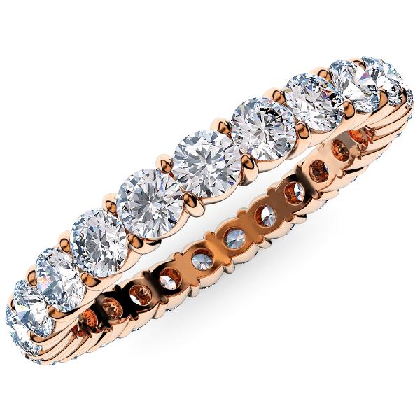 ピンクゴールドのダイヤモンド フルエタニティリング1.00Ct[直径2.0mm x 40Pc] 1~4号 (HC