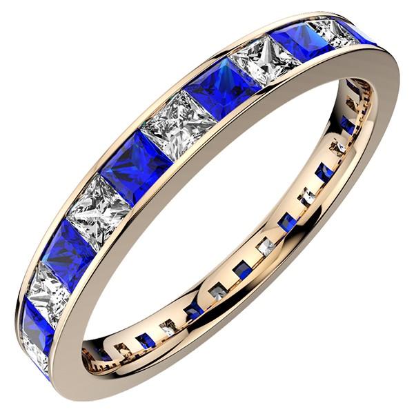レール留め・PGフルエタニティリング・プリンセスカットのダイヤモンドとサファイア