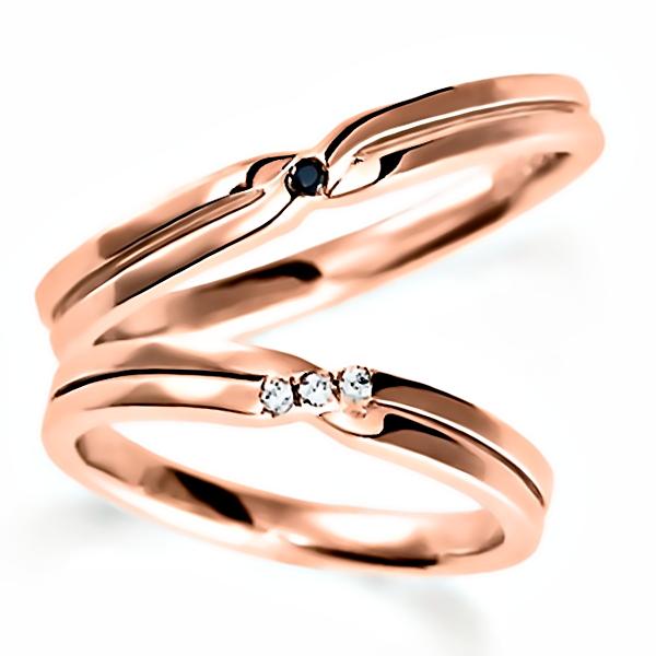 ペアのピンクゴールドの結婚指輪