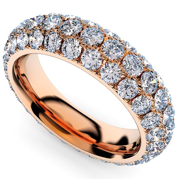 ピンクゴールドのパヴェエタニティリン・ダイヤモンド3.8ミリ