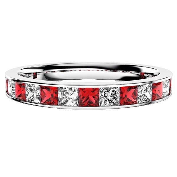 ルビープリンセスカットダイヤモンドのハーフエタニティリング