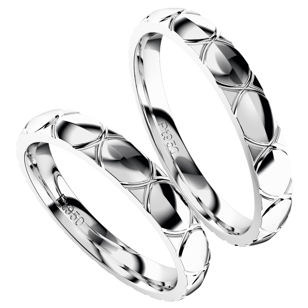 シンプルでカッコいいシンプルでカッコいい結婚指輪・プラチナのペアリング「トルテュ・ド・メール」縦置き斜めからの写真