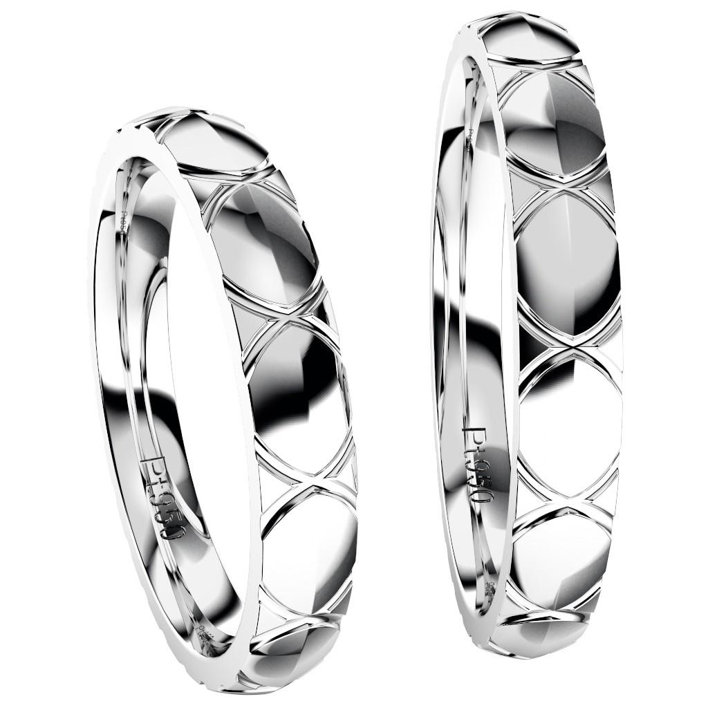 シンプルでカッコいい結婚指輪・プラチナのペアリング「トルテュ・ド・メール」、ペアで縦置き正面写真