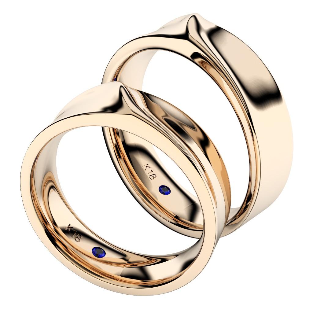 シンプルな結婚指輪(マリッジリング)さざなみ・ピンクゴールド