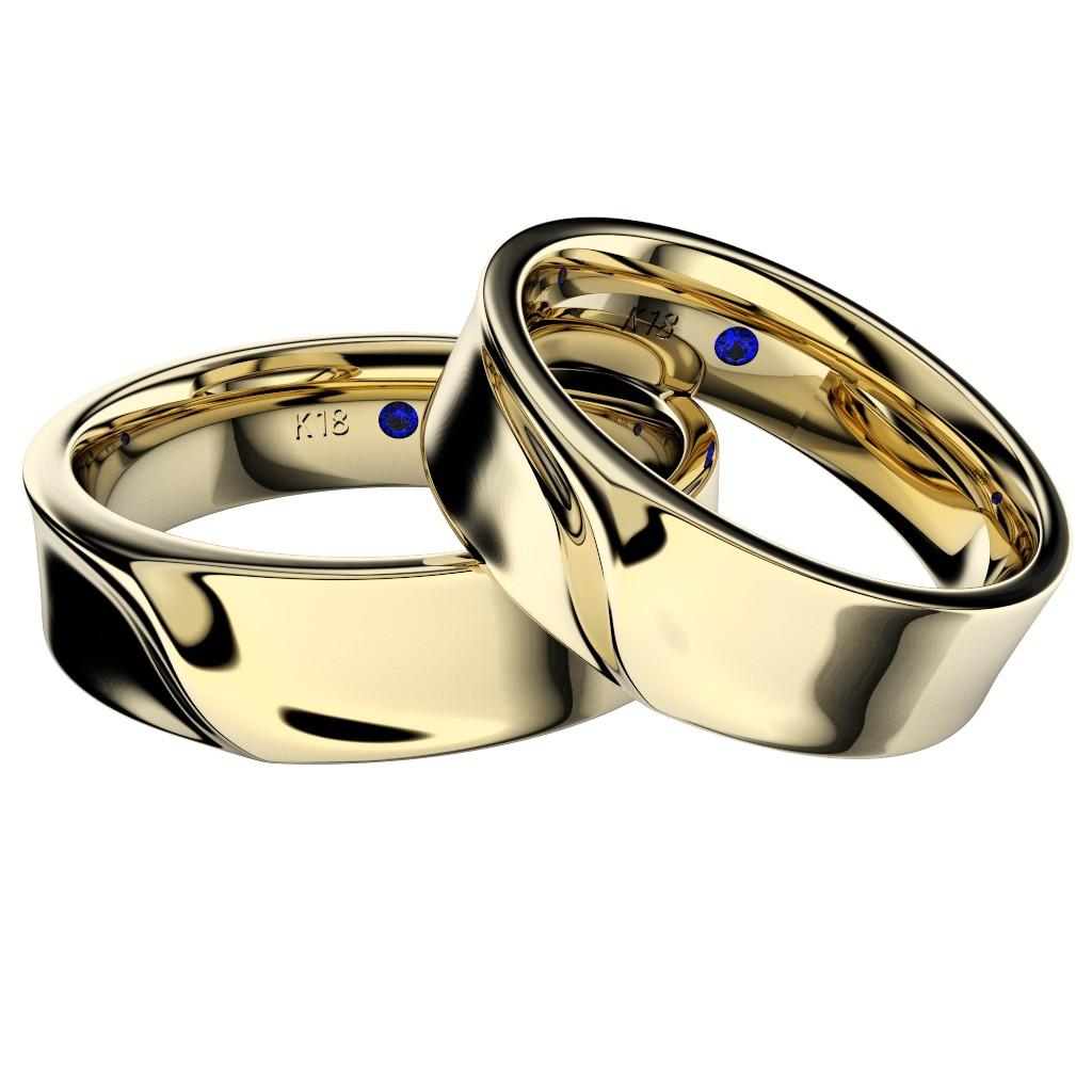 石なしシンプルな結婚指輪(マリッジリング)さざなみ・イエローゴールド