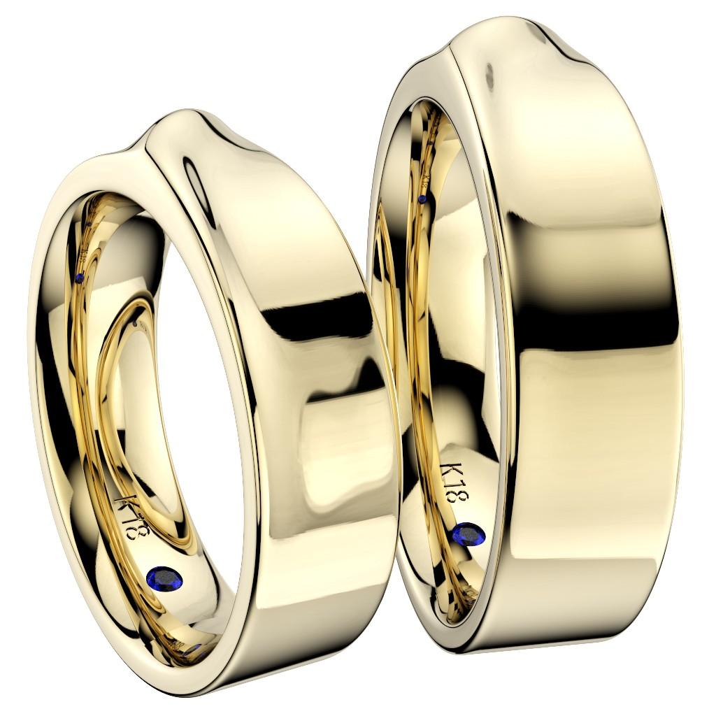 シンプルな結婚指輪(マリッジリング)さざなみ・イエローゴールド