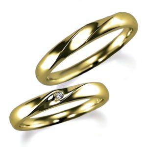 イエローゴールドのペア結婚指輪、女性用はダイヤモンド入り