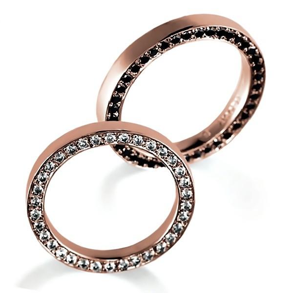 サイドエタニティ・ピンクゴールドのペア結婚指輪、女性用はダイヤモンド入り