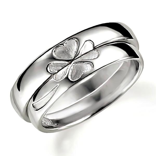 合わせるとハート(四つ葉のクローバー)になるプラチナのペア結婚指輪、ペアで組み合わせるとハートマークになる