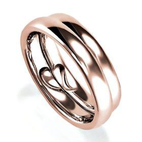 合わせると合わせるとリンング内側がハートになるピンクゴールドのペア結婚指輪、