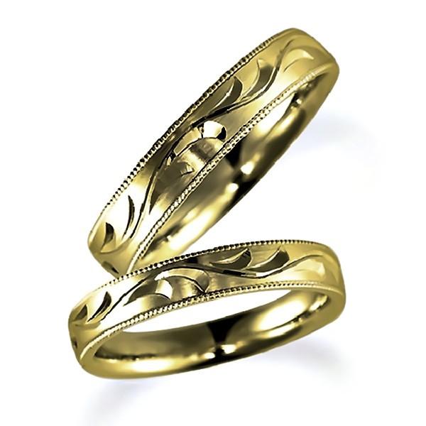 石なし花彫りのイエローゴールドのペア結婚指輪、彫り加工とミルうち加工