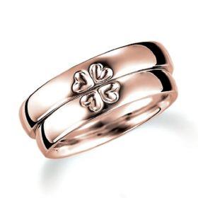 表面にハート(四つ葉のクローバー)のピンクゴールドのペア結婚指輪、平甲丸