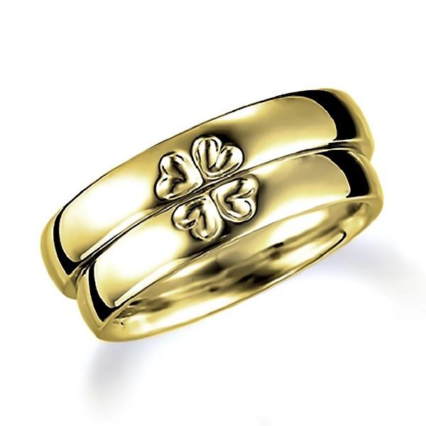 合わせると表面にハート(四つ葉のクローバー)になるイエローゴールドのペア結婚指輪、平甲丸