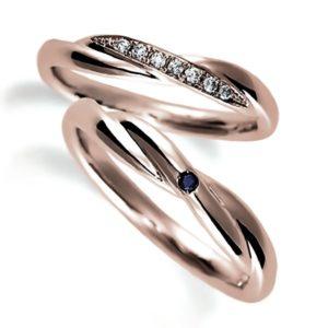ピンクゴールドのペア結婚指輪、クロスデザイン、女性用ダイヤモンド入り