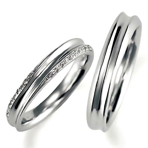 プラチナのペア結婚指輪、逆甲丸リング、女性用のみダイヤモンド入り