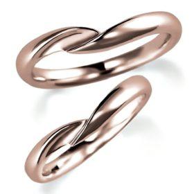 ピンクゴールドのペア結婚指輪、抱き合わせアーム