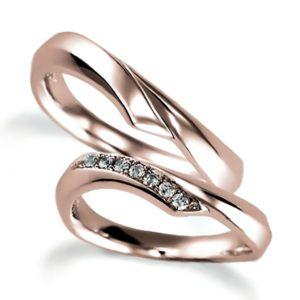 ピンクゴールドのペア結婚指輪、抱き合わせアーム、女性用のみダイヤモンド入り