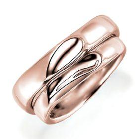 合わせるとハートになるピンクゴールドのペア結婚指輪、シンプルデザイン、甲丸リング