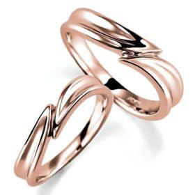 ピンクゴールドのペア結婚指輪、ひねり腕デザイン