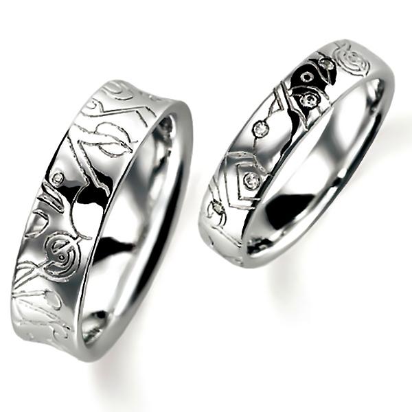 石なし花彫りのプラチナの結婚指輪、女性用にはダイヤモンド入りの甲丸、男性用はシンプルな逆甲丸、どちらも彫り加工あります