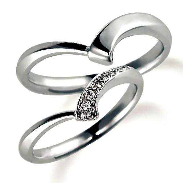 プラチナのペア結婚指輪、抱き合わせアーム、女性用はダイヤモンド入り