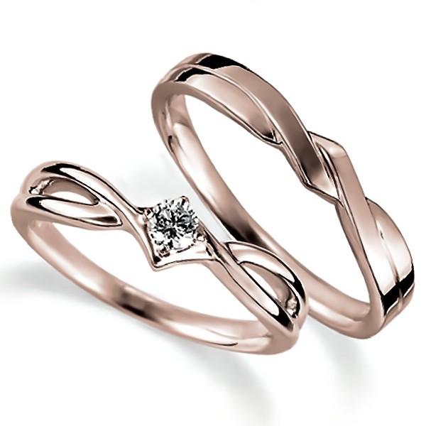 ピンクゴールドのペア結婚指輪、抱き合わせアームデザイン、女性用は4本爪留めでダイヤモンド入り