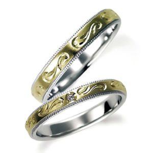 石なしイエローゴールドのペア結婚指輪、内側はプラチナ、両方とも彫り加工とミルうち加工を施してあります。