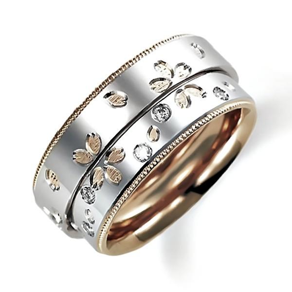 合わせると桜の花びらになるプラチナのペア結婚指輪、桜の彫り加工、内側はピンクゴールド、ミルうち加工を施しています