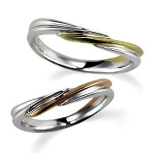 ペア結婚指輪、プラチナとイエローゴールド、プラチナとピンクゴールド、2つともシンプル