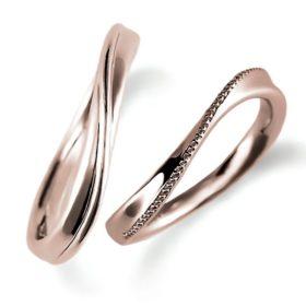 ピンクゴールドのペア結婚指輪・ウエーブ、ミルうち加工とシンプル