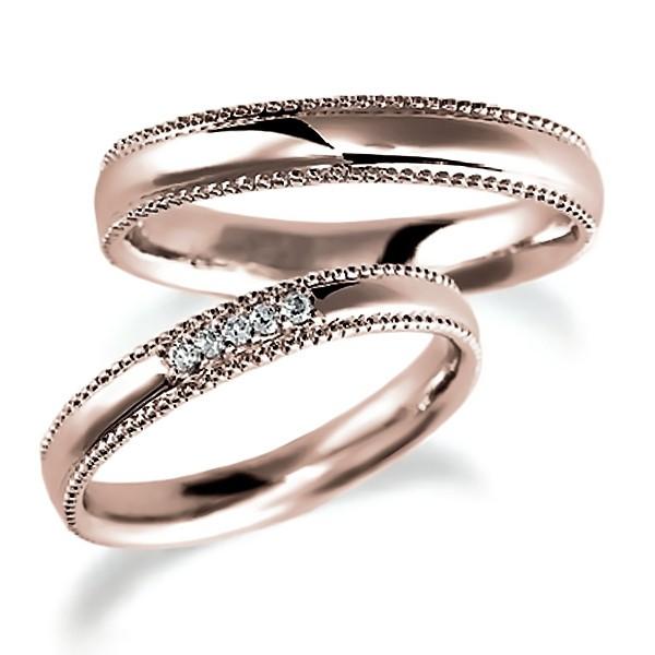 ピンクゴールドのペア結婚指輪・甲丸リング、ダイヤ4個入とシンプル、ミルうち加工