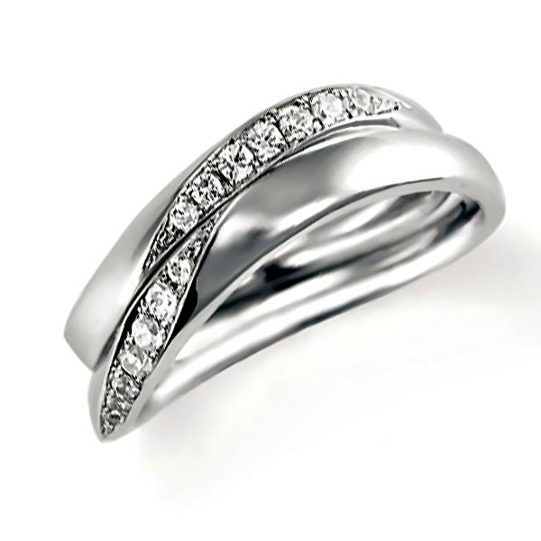 プラチナのペア結婚指輪・ウエーブ、ダイヤモンド入り