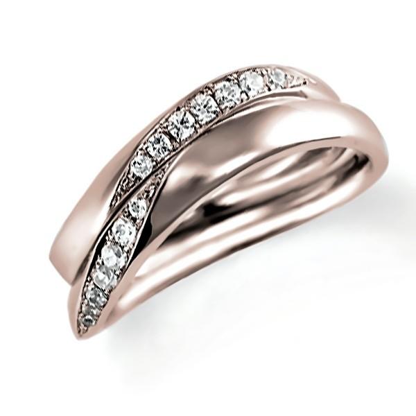 ピンクゴールドのペア結婚指輪・ウエーブ、ダイヤモンド入り