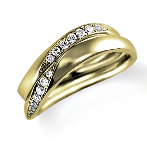 イエローゴールドのペア結婚指輪・ウエーブ、ダイヤモンド入り