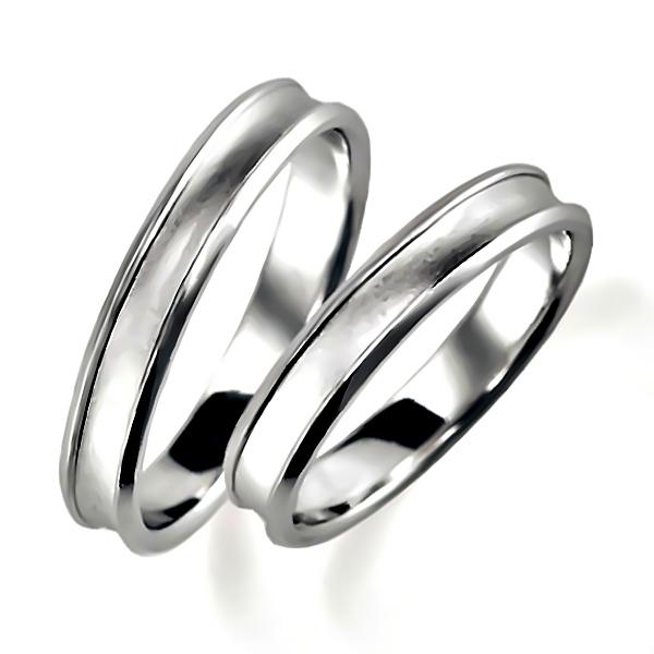 石なしプラチナのペア結婚指輪・逆甲丸リング