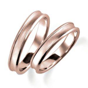 石なしピンクゴールドのペア結婚指輪・逆甲丸リング