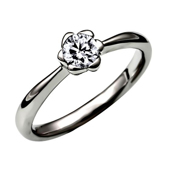 ソリティアの婚約指輪(エンゲージリング)石座の低いタイプ