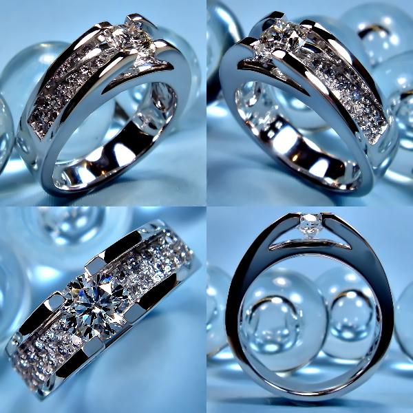 爪なしソリティアタイプの婚約指輪(エンゲージリング)