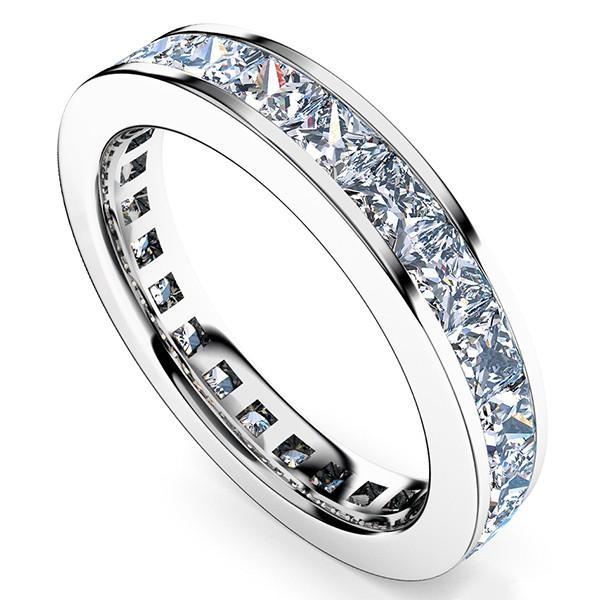 レール留め・プリンセスカットのフルエタニティリング・ダイヤモンド・直径2.5mm×2.5mm