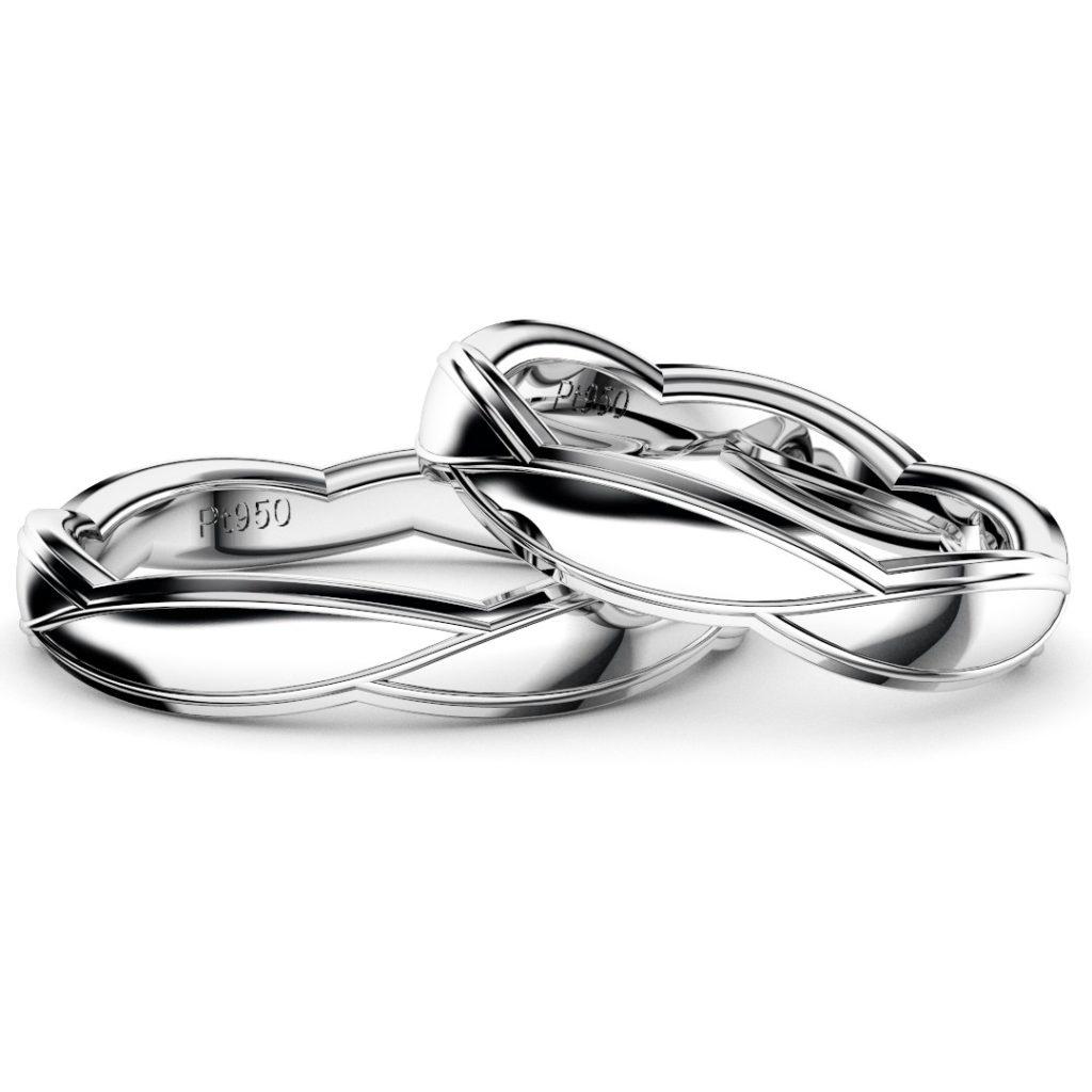 2019年新作デザイン結婚指輪(マリッジリング)Sasa six D・プラチナ950・鏡面仕上げ