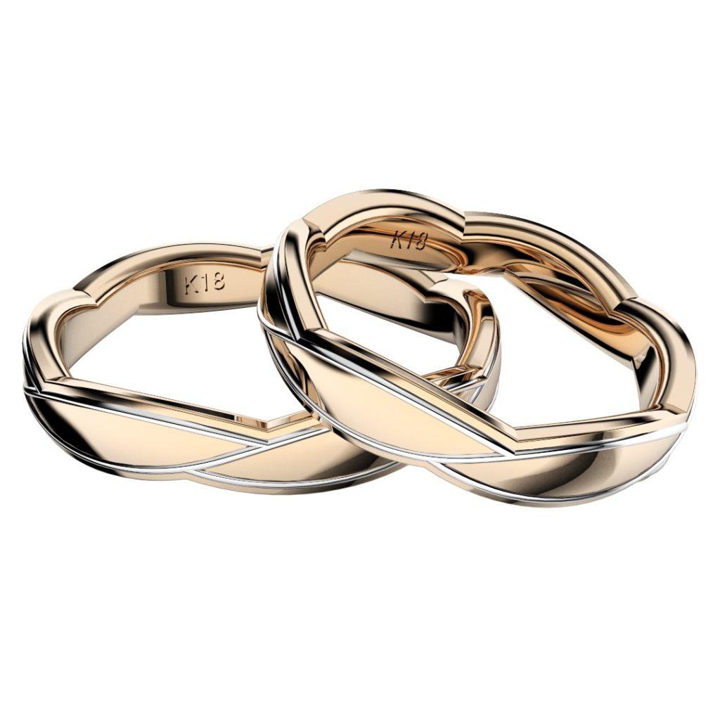 2019年新作デザイン結婚指輪(マリッジリング)Sasa six D・ピンクゴールド主体のコンビ
