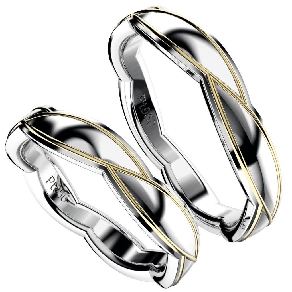 2019年新作デザイン結婚指輪(マリッジリング)Sasa six B・プラチナ950とイエローゴールドのコンビ