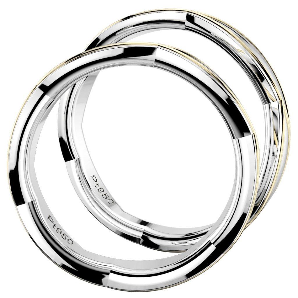 2019年新作デザイン結婚指輪(マリッジリング)Sasa six B・プラチナ950主体のコンビ